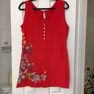 JW Los Angeles red dress embroidered flowers